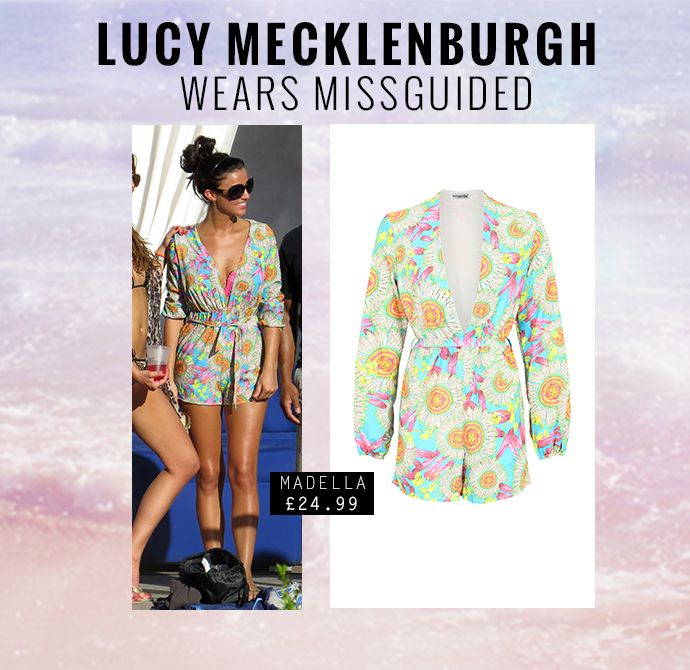 TOWIE's Lucy Mecklenburgh in floral print playsuit