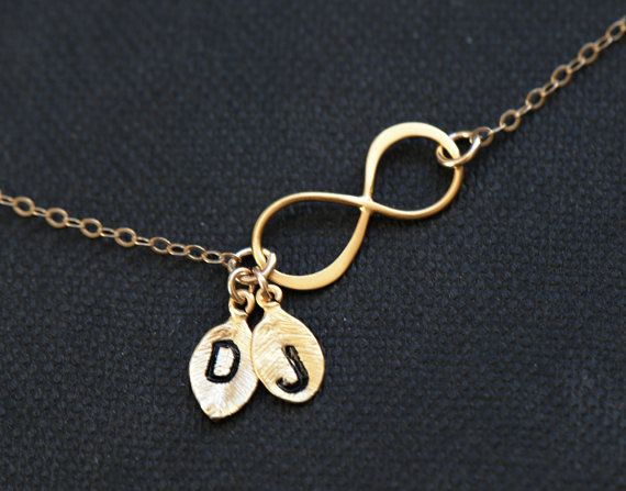 Infinity+Necklace+TWO+Monogram+Necklace+by+SilverLotusDesigns,+$32.00