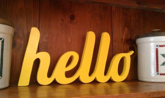 Hello sign handmade wood script yellow | Baby Hassler ...