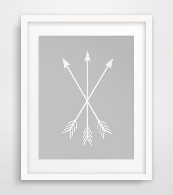 Grey Arrow Wall Decor : Grey and white arrow print wall
