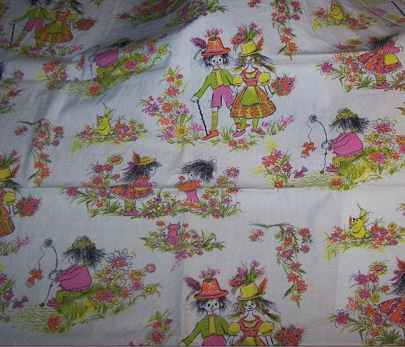 Vintage 60s 70s novelty childrens print fabric little girl for Vintage childrens fabric prints