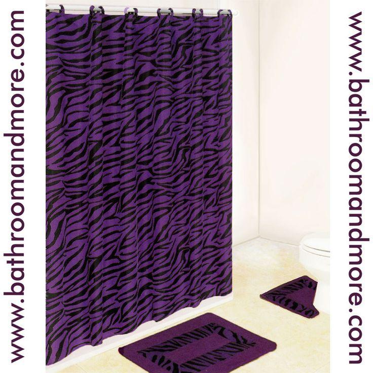 Purple Fabric Shower Curtain | Purple Zebra Print Bath Mat and Fabric ...