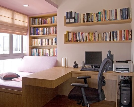Cozy bed and desk small space solution home office pinterest - Small office space solutions plan ...