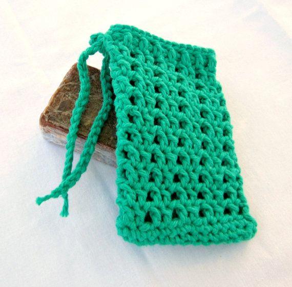 Free Crochet Patterns For Soap Bags : Green Crochet Soap Saver, Cotton Soap Holder, Green Soap ...