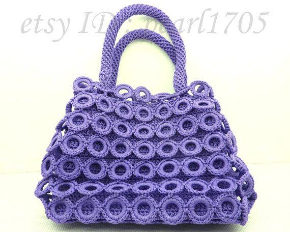 Handmade Crochet Bags : Purple Handmade Crocheted Bag-- Purse--Crochet Handbag--Ready To Ship