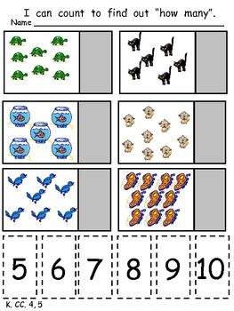 This packet has 26 printable pages to allow students to practice the standards in the COUNTING and CARDINALITY domain of the Kindergarten Common Core Standards. The activities focus on the following content and skills: counting to 100, counting to 100 by tens, recognizing numbers from 0 to 20, writing numbers from 0 to 20, counting sets to 20, matching sets with numerals from 0 to 20, identifying the set with more, identifying the set with less, and determining which numeral is greater.  $