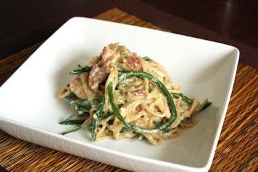 garlic scape spaghetti carbonara | Delish | Pinterest