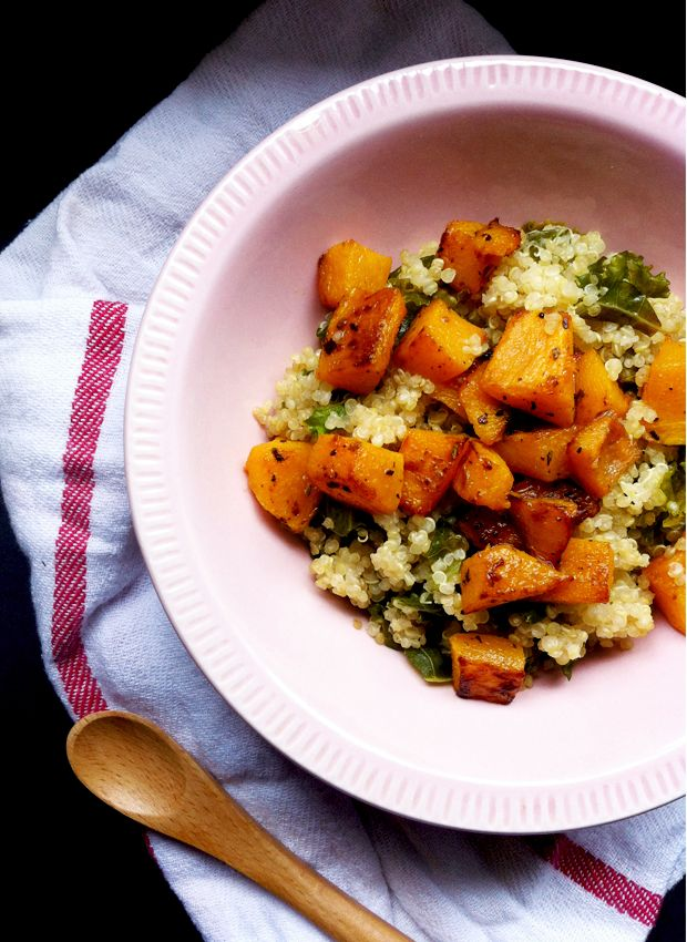 Meatless Monday: Kale and Quinoa Pilaf with Pan-Roasted Squash
