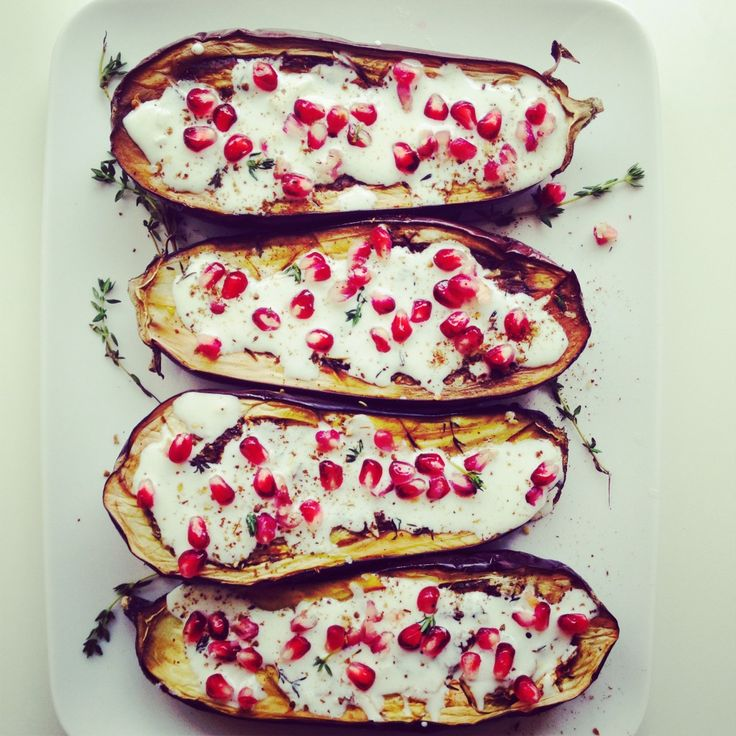 ... dinner: Roasted Eggplant with Pomegranate, Thyme, and Buttermilk Sauce