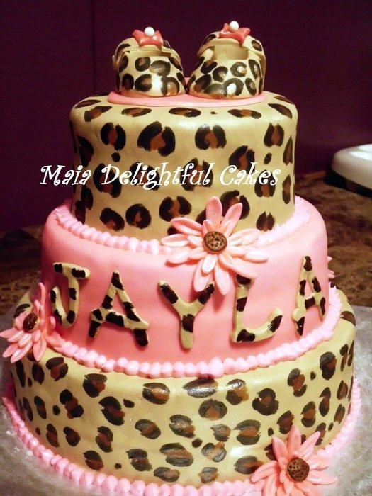 leopard print baby shower cake cakes pinterest