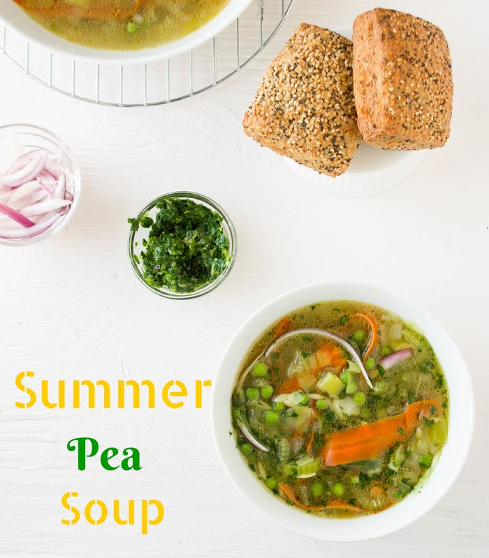 Summer Pea Soup with leeks and carrots #recipe