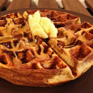 Chocolate Peanut Butter Banana Waffle pbbananawaffleMM