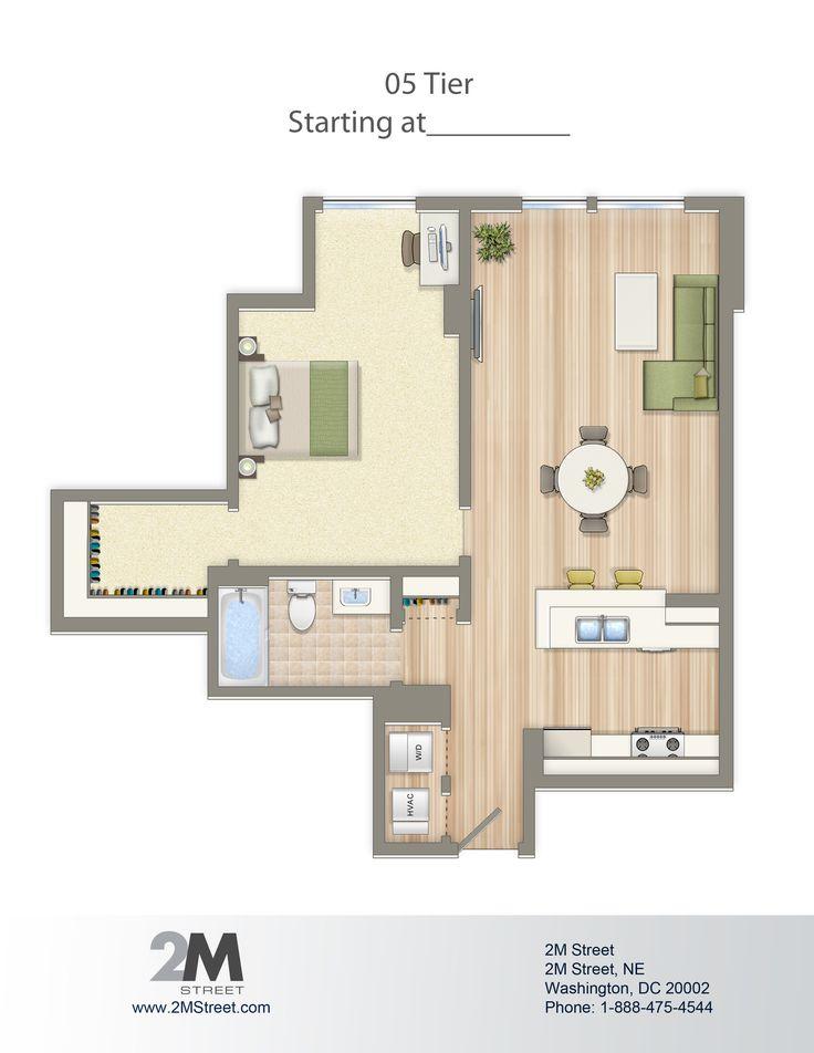 one bedroom floor plan 2m street in northeast washington dc wc