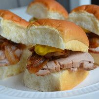 Asian Marinated Pork Tenderloin Sliders with Sauteed Sweet Onions and ...
