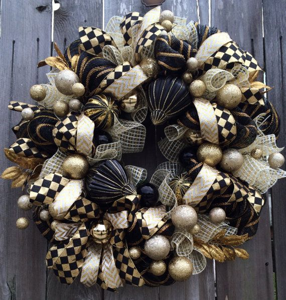 Stunning Black & Gold Christmas Wreath Holiday by BaBamWreaths