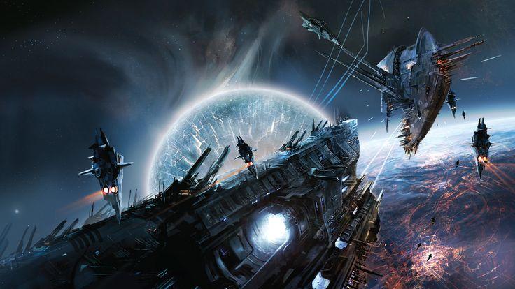 Si Fi Starship Battle  Cool Wallpapers Pinterest