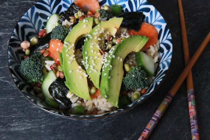 veggie sushi bowl rice, broccoli, carrot, spring onion, avocado, bean ...