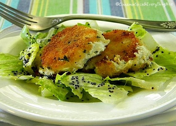 Pan-Fried Goat Cheese Salad with Creamy Lemon Poppy Seed Dressing by ...
