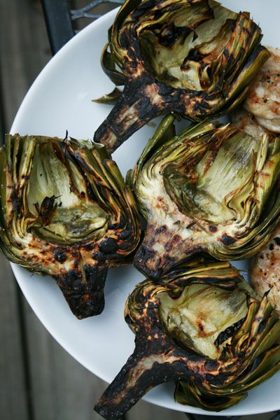 grilled artichokes...oh man, mouthwatering. Most delicious done over ...