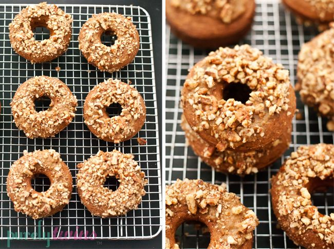 banana coconut pecan protein baked donuts