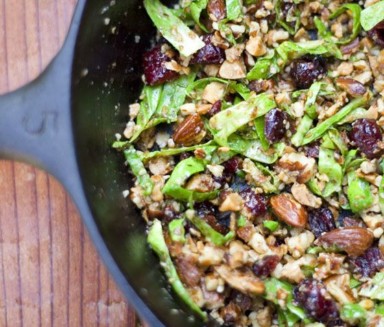 Duck Fat Roasted Brussels Sprouts with Almonds and Cranberries