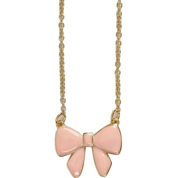 River Island Pink Enamel Bow Necklace ($6.34) ❤ liked on Polyvore