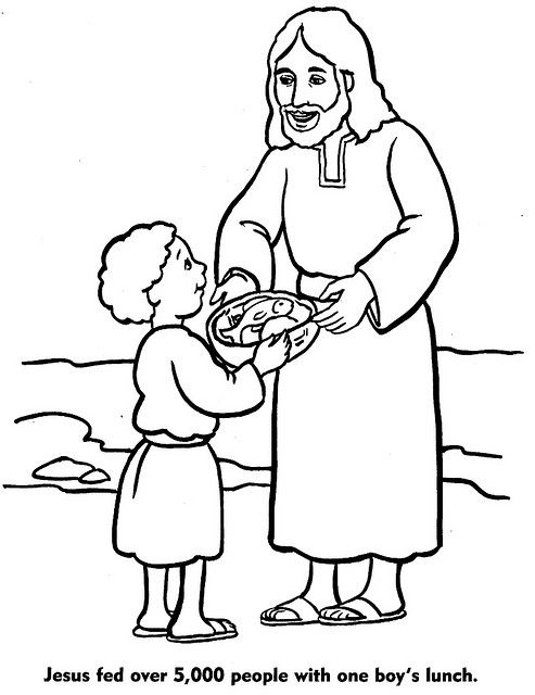 Free coloring pages of jesus feeds five thousand for Feeding the five thousand coloring pages