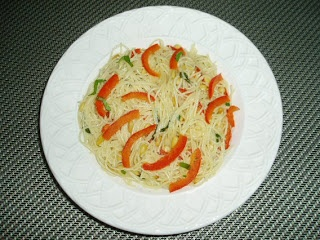 Angel Hair Pasta with Red Bell Pepper and Pine Nuts in Basil-Wine ...