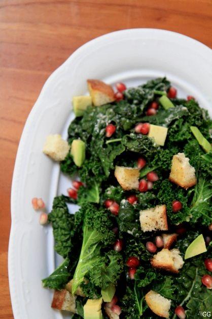 Roasted Kale Salad with Tahini Caesar Dressing