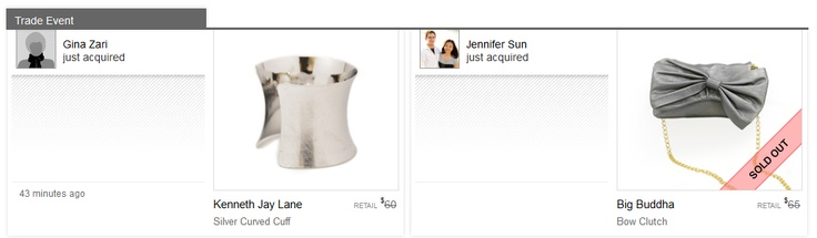 Congrats to Gina and Jennifer who made the Top Trade of the Week on Little Black Bag! Gina acquired a Kenneth Jay Lane Cuff while Jennifer acquired a Big Buddha Bow Clutch.