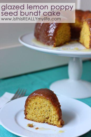 Glazed lemon poppy seed bundt cake #recipe #dessert #cake ...