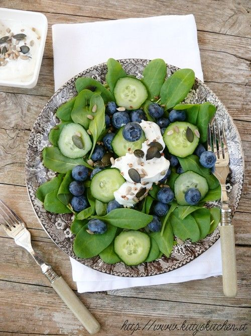 spinach, blueberry and cucumber salad with greek yogurt.