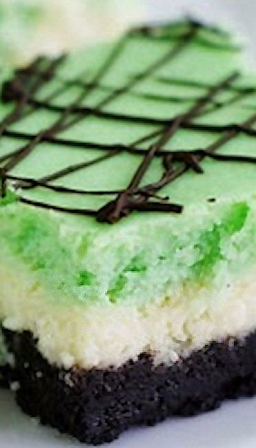 Grasshopper Cheesecake Squares | Food - Desserts | Pinterest