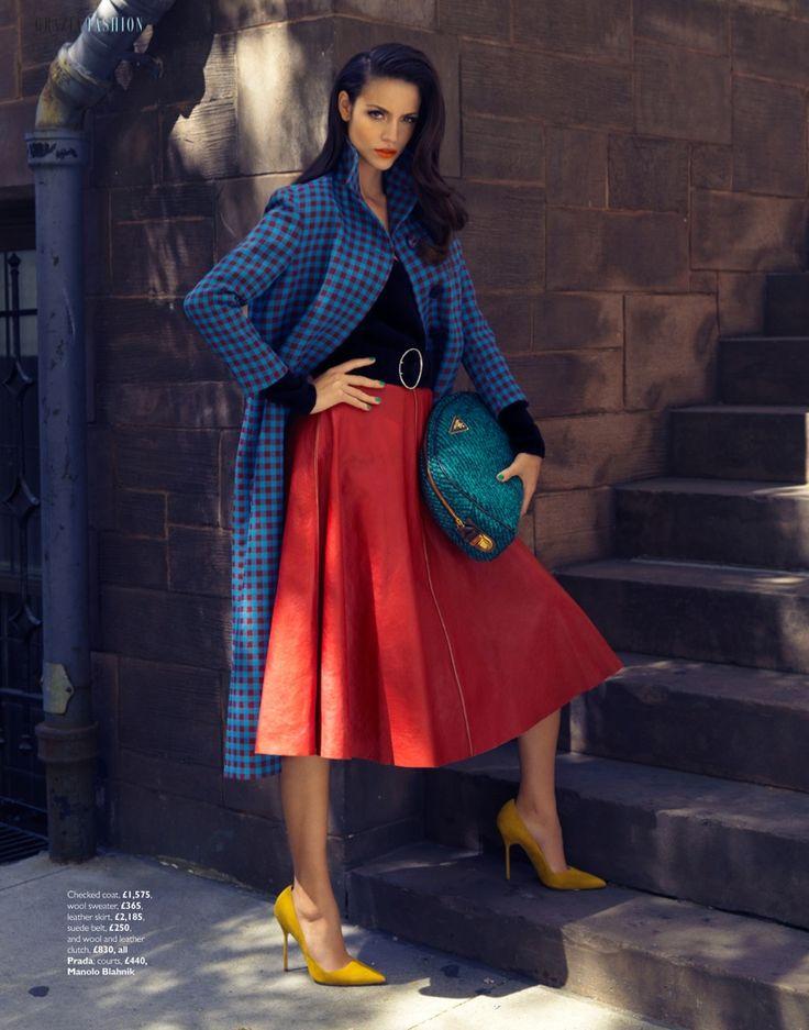 autumn coats7 Sofia Resing Models Bright Fall Looks for Grazia UK by Asa Tallgard