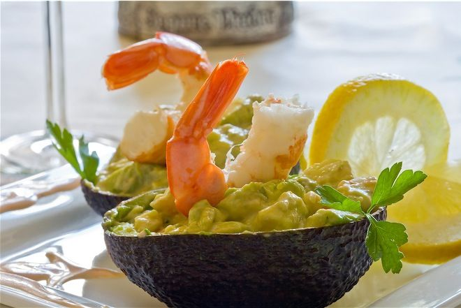 Shrimp and Avocado Salad - with white wine vinegar and olive oil. I ...