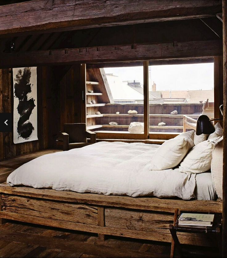 Rustic bedroom bedrooms pinterest for Raw wood bed frame