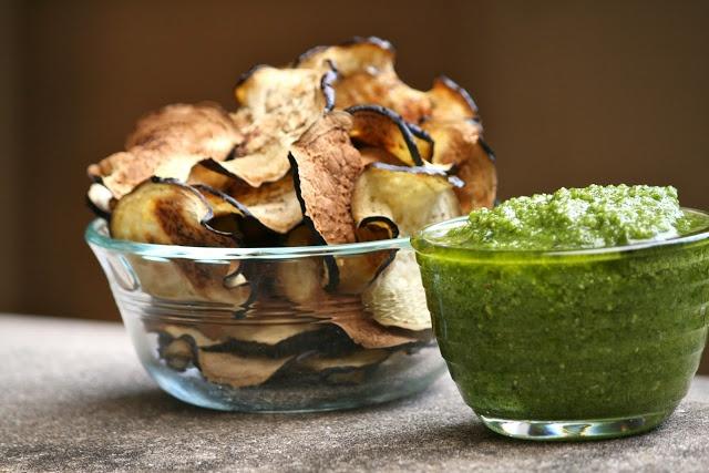 Eggplant Chips with Cilantro Pesto | Delicious condiments and D.I.Y ...