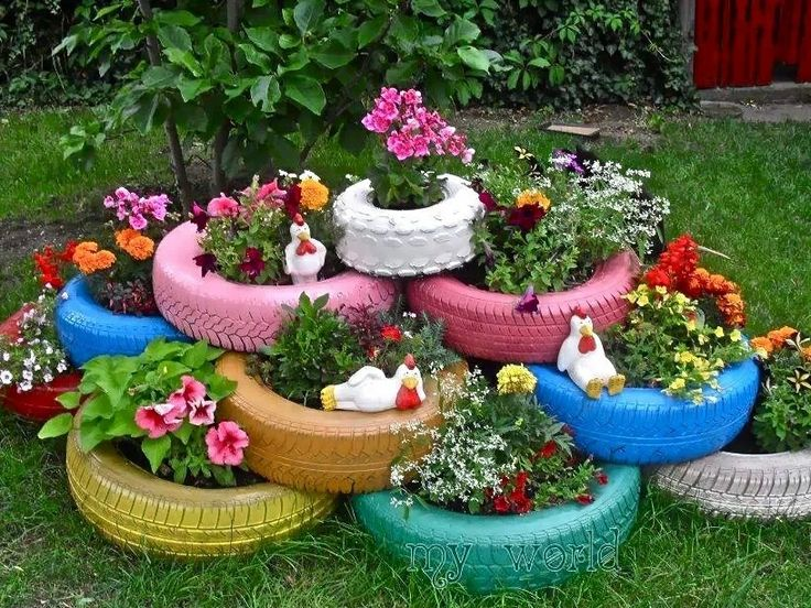 flowers in tires garden pinterest