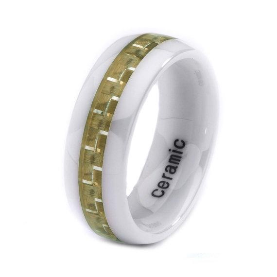 Mens Womens Ceramic Wedding Band Ring 8mm Carbon Fiber Inlay Brown Wh