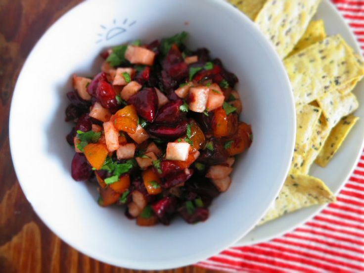 Cherry, apricot, jicama salsa | Vegan | Pinterest