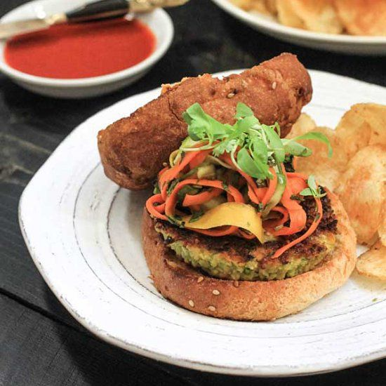 thai-spiced veggie burgers with homemade carrot-and-cucumber pickles ...
