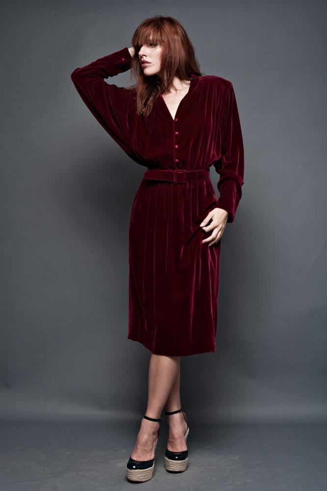 vintage 80s draped dress iii midi plunging v neck