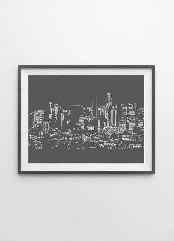 Los Angeles Skyline Art Print - Cityscape Wall Art - LA Poster - Dorm…