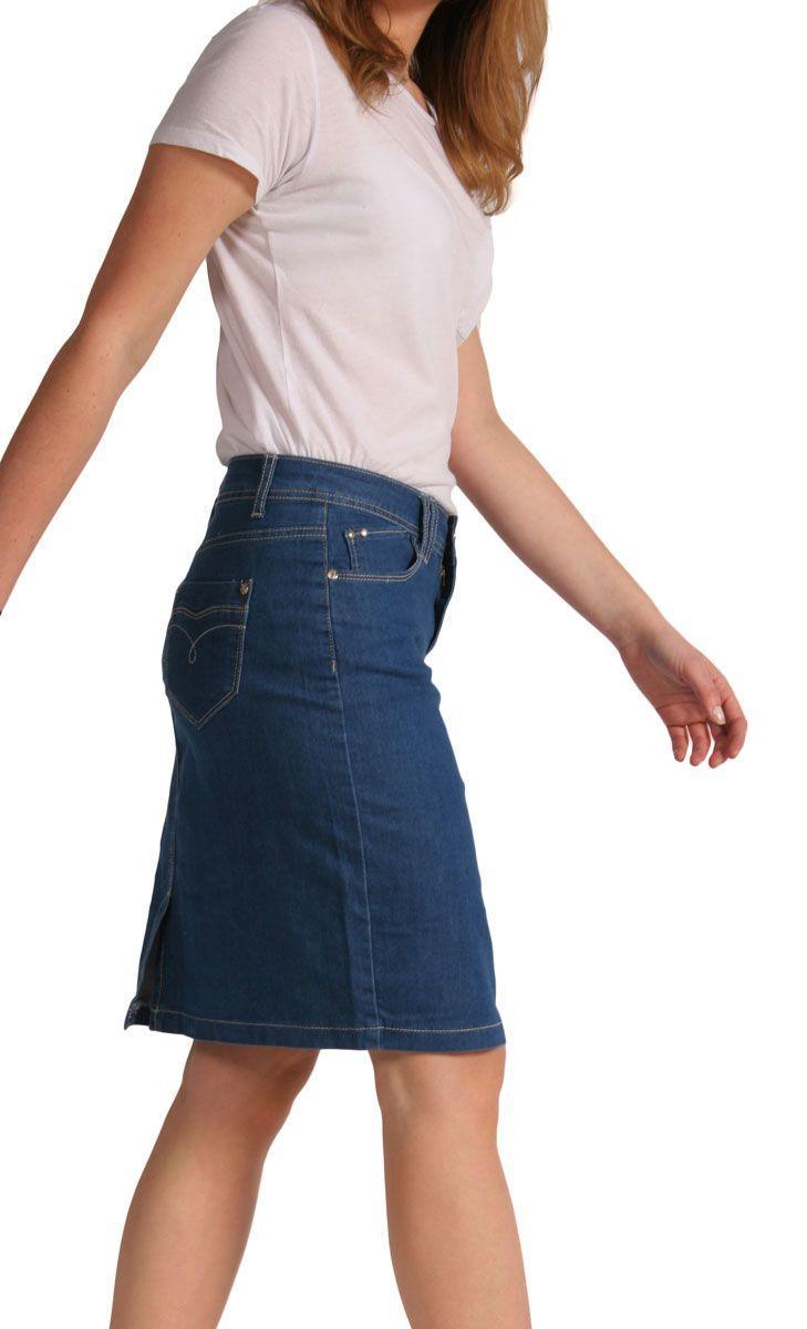 blue denim knee length skirt denim fashion
