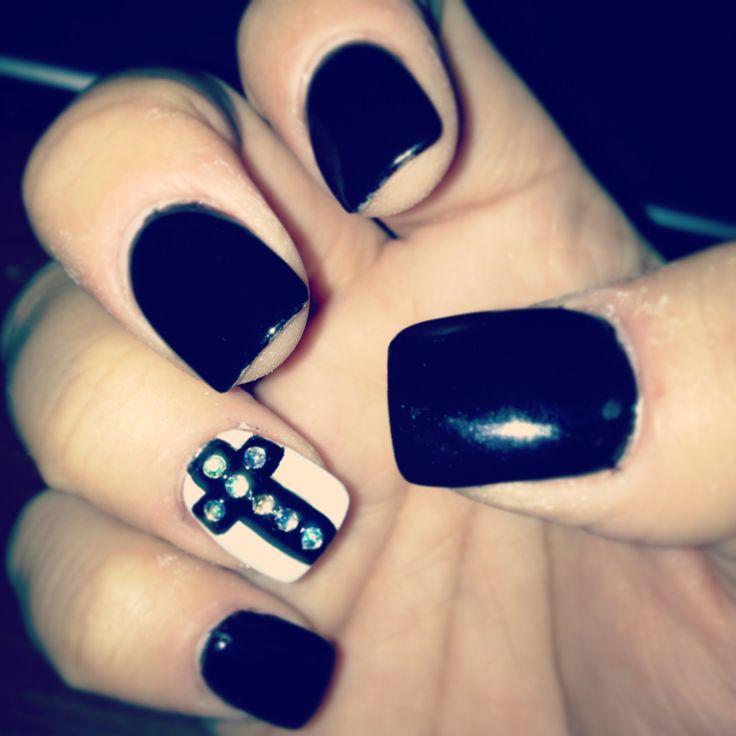 black nails white nail with bling cross my nail art