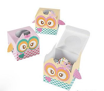 Owl Cupcake boxes. Set of 12 by TheCleverWorkshop on Etsy, $12.50
