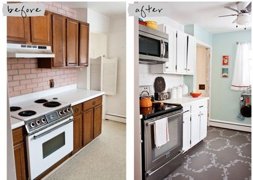 Cheap kitchen remodel condo update pinterest for Inexpensive kitchen remodel