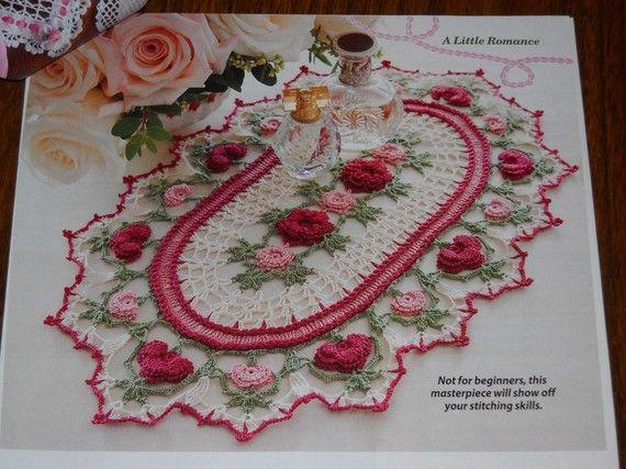 Rose Parade Doily Pattern Thread Crochet Cotton 10 1/4 x 17