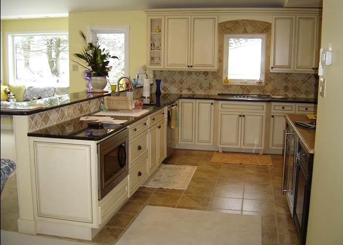 full height angled tile backsplash kitchen tile