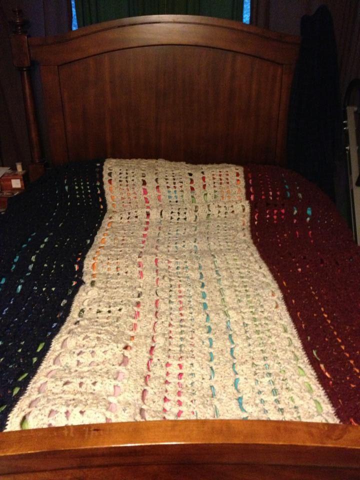 Crochet Patterns Queen Size Bed : Patriotic crochet blanket. Fits queen size bed.